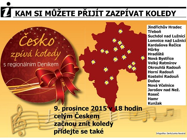Česko zpívá koledy se blíží, kam si můžete přijít zazpívat s Deníkem.