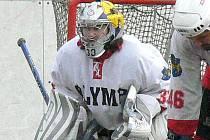 Gólman Ondřej Průša byl jedním z hlavních strůjců historického triumfu hokejbalistů Olympu.