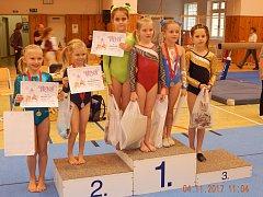 Část úspěšné výpravy hradeckých gymnastek na závodech v Táboře.
