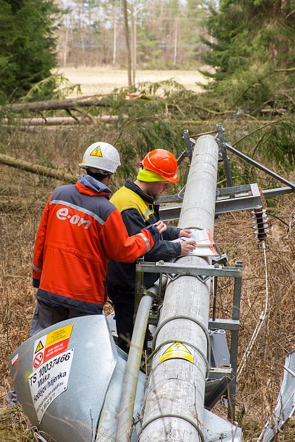 Vpondělí pracovníci společnosti E.ON opravovali poškozené také vMláce na Třeboňsku.
