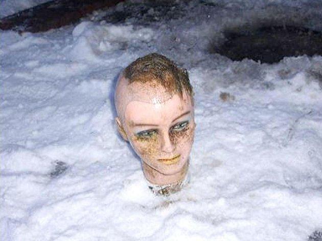 V jindřichohradeckém rybníku Vajgar našel muž v ledu zamrzlý předmět podobný lidské hlavě. Ukázalo se, že se jedná o kadeřnickou figurínu hlavy.