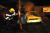 Požár auta v Břilicích.