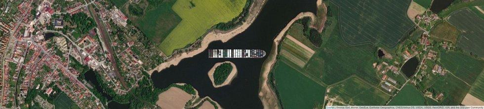 Jaké místo by obří kontejnerová loď Ever Given zabrala na Velkém řečickém rybníku v Kardašově Řečici?