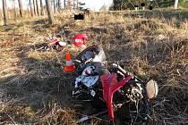 Pohled na místo tragické dopravní nehody poblíž Budíškovic.