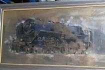 Obraz lokomotivy, který získalo Národní technické muzeum v Praze.