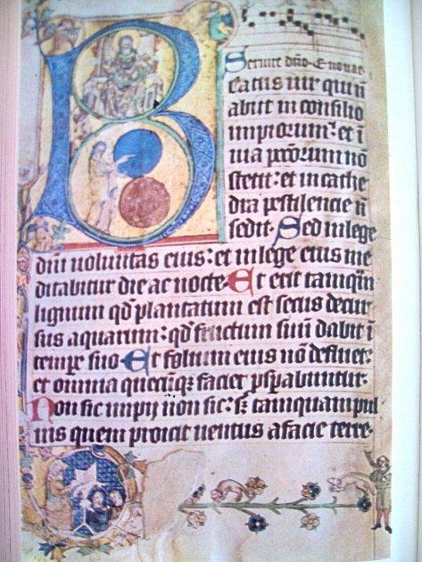 ÚVODNÍ STRÁNKA z brevíře, souboru modliteb, královny Elišky Rejčky.