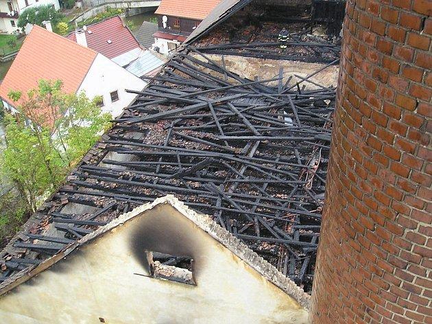 Pohled na vyhořelý historický pivovar v J. Hradci z ptačí perspektivy.