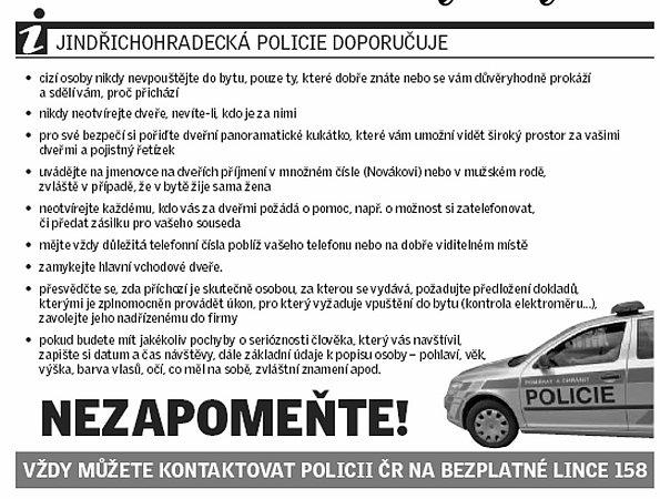 Policie varuje.