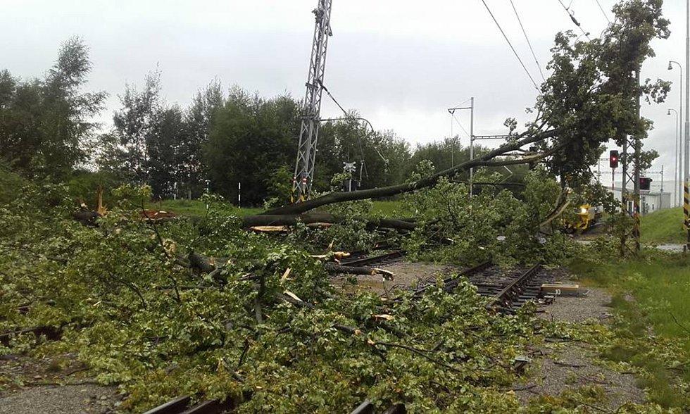 Na Šumavě uvízl mezi popadanými stromy vlak. Na místo vyrazili drážní hasiči.