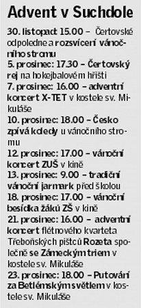 Adventní program Suchdol nad Lužnicí.