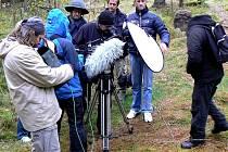 ZÁHADY. Štáb brněnské televize během natáčení jedné ze scén o Janu Žižkovi nedaleko Peršláku.