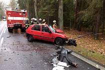 Střet osobního auta s kamionem u Majdaleny si vyžádal život řidičky. Foto: Policie ČR