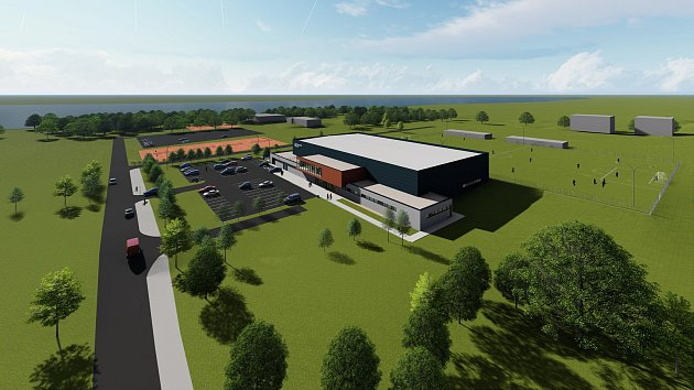 Nový zimní stadion by měl vzniknout mezi fotbalovým hřištěm a tenisovými kurty vTřeboni vlokalitě Hliník.