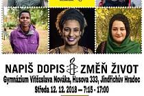 Studenti hradeckého gymnázia organizují Maraton psaní dopisů za lidská práva.