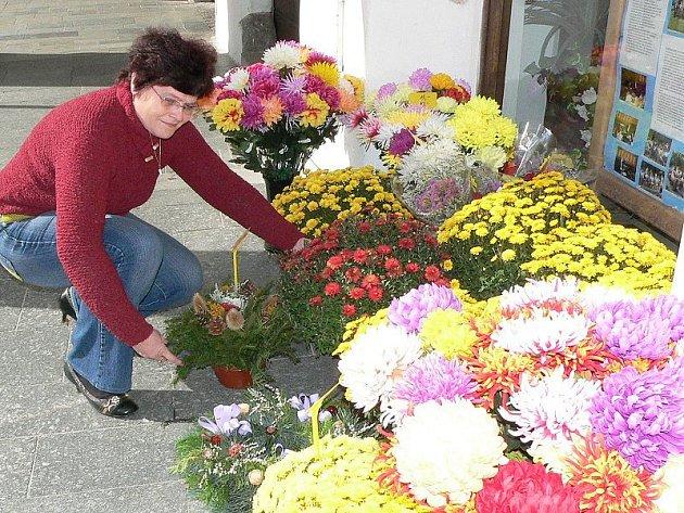 Majitelka květinářství v Třeboni Věra Nalezená očekává největší nápor zákazníků před příštím víkendem. To se totiž lidé vydávají na hřbitovy nejčastěji.