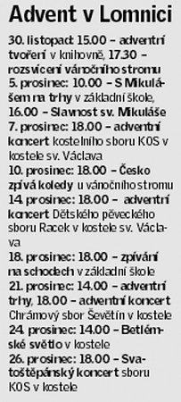Adventní program Lomnice nad Lužnicí.