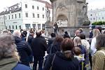 Demonstrace na náměstí Míru v Jindřichově Hradci.