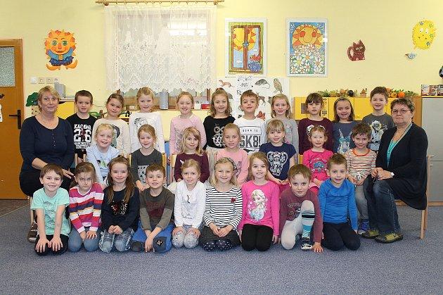 Třída Pejsek na odloučeném pracovišti 1.mateřské školy vJindřichově Hradci Pod Kasárny je plná usměvavých dětí.