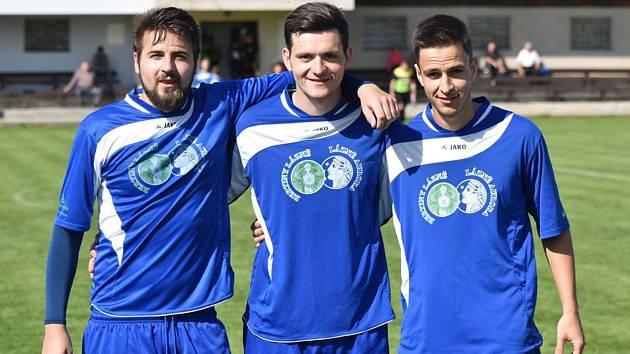 Mezi tahouny fotbalistů Jiskry by v jarní části měli patřit (zleva) Martin Cimerhanzl, Karel Holzepl a Petr Koktavý.