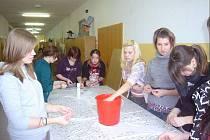 Studentky uměleckého maturitního oboru Modelářství a návrhářství oděvů SOŠ a SOU Třeboň (na snímku) připravovaly rybí šupiny na výšivky (na malém snímku) na  model šatů, se kterým se zúčastní celorepublikové soutěže Čtrnáct klenotů v srdci Evropy.