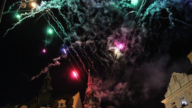 Novoroční ohňostroj v Jindřichově Hradci