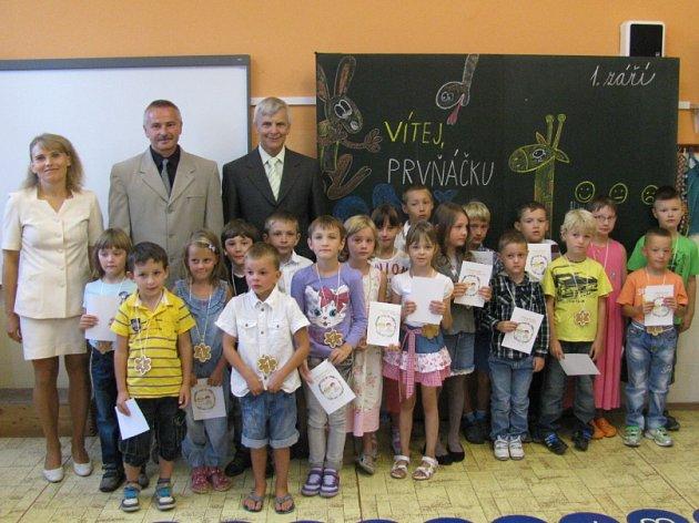 První školní den u prvňáčků v Nové Včelnici.