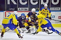 Jindřichohradečtí Střelci (v modrém) porazili ve 4. kole krajské ligy na domácím ledě Milevsko 2:0.