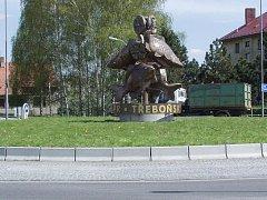 Kruhový objezd v Třeboni.