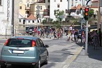 Pohled na křižovatku Vídeňské a Václavské ulice. Ilustrační foto.