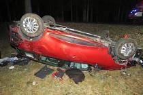 U Sedla havaroval opilý řidič. Spolujezdec je zraněný.