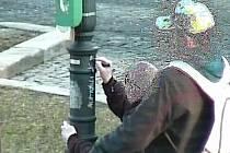 Vandalové v J. Hradci bílou fixou počmárali sloup v parku.