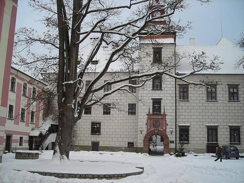 Třeboňský zámek v zimě.