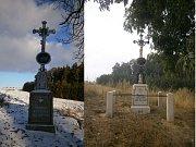 Vetýškův kříž v Hříšici před a po opravě.