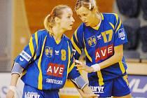 Jindřichohradecké házenkářky svedou  náročnou  bitvu o postup do osmifinále Vyzývacího poháru s tureckým Izmirem, což si jistě uvědomují i opory týmu Jitka Matoušková (vlevo) a Hana Martínková.