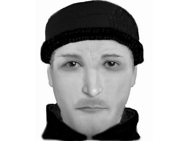 Portrét neznámého pachatele, který ve čtvrtek přepadl prodavačku v obchodě se smíšeným zbožím v Příbrazi.