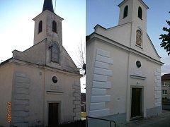 Kaple v Hříšici před a po rekonstrukci fasády.