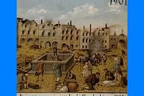 učně malovaný terč jindřichohradeckých ostrostřelců zachycující část náměstí Míru v Jindřichově Hradci po ničivém požáru roku 1801.