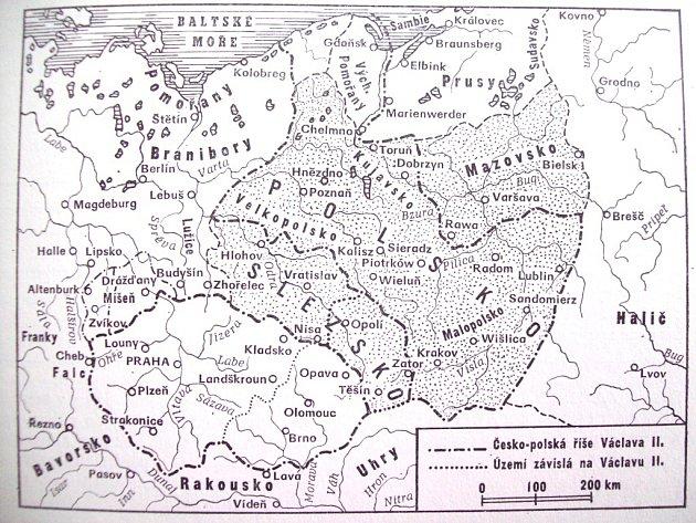 Mapa uspořádání území v Evropě za Václava II.