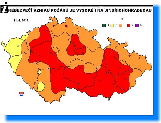 VYSOKÉ RIZIKO požáru platí od úterka i na Jindřichohradecku. Předpovědní mapku aktualizuje Český hydrometeorologický ústav jedenkrát denně. Legenda: 1 – malé riziko, 2 – nízké riziko, 3 – střední riziko, 4 - vysoké riziko, 5 - velmi vysoké riziko.