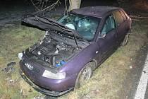 Řidič audi, aby se vyhnul střetu s jiným autem strhl řízení a narazil do stromu.