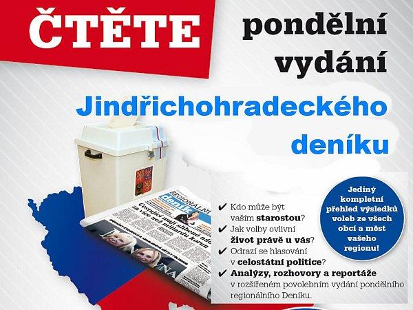 Vpondělním vydání najdete kompletní výsledky komunálních voleb ve všech obcích Jindřichohradecka.