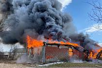 Požár ubytovny v obci Hůrky.