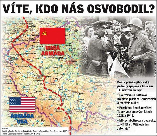 Mapa vyznačuje , kudy vedla na konci druhé světové války takzvaná demarkační linie.