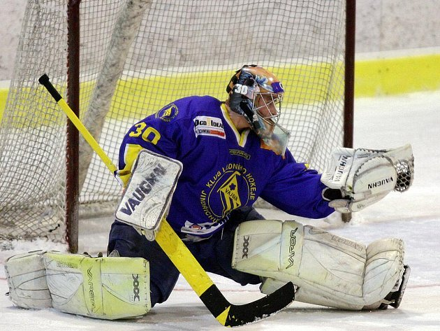JEDNIČKA. Brankář jindřichohradeckých hokejistů Tomáš Kubeš má velkou zásluhu na tom, že Vajgar ve vyřazovací části II. ligy prošel až do finále skupiny Střed, kde v pětizápasové sérii podlehl Písku.