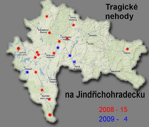 Aktualizovaná mapa tragických dopravních nehod na Jindřichohradecku.