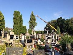 Třeboň - Již v roce 2013 na třeboňském hřbitově vlivem počasí spadl strom. Poté bylo nutné ořezat i několik dalších dřevin, u kterých hrozilo stejné nebezpečí.