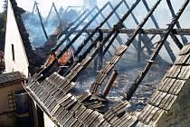 Požár domu v Kunžaku.