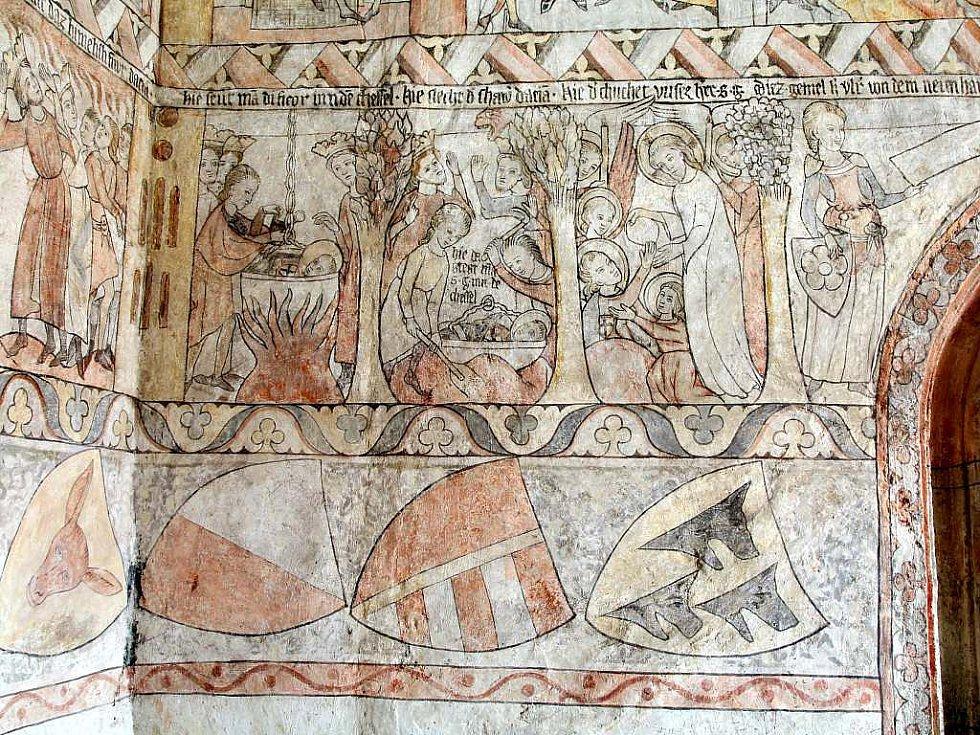 Freska znázorňující Legendu sv. Jiří z roku 1338 na hradě v Jindřichově Hradci je jedinečnou uměleckou památkou, kterou dal vymalovat Oldřich III. z Hradce.