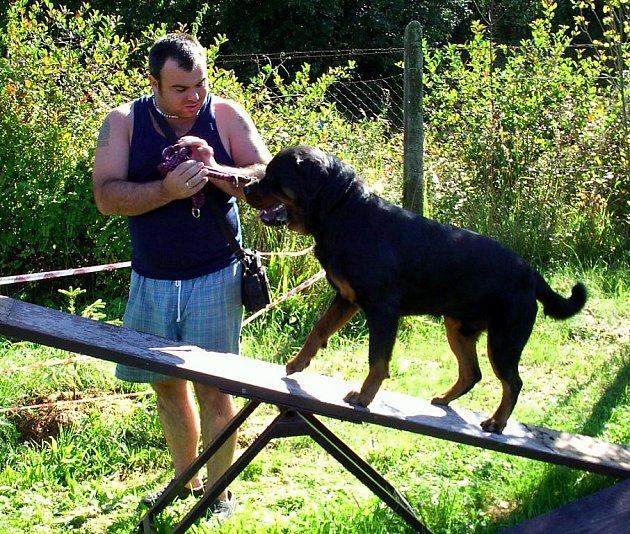 Výcvik na strmilovském psím cvičišti absolvuje také Milan Soldán z J. Hradce se svým rotvajlerem Cloughem.