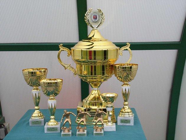 Pro fotbalisty jsou tradičně připraveny poháry.
